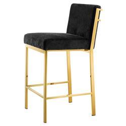Eichholtz Scott Modern Classic Gold Black Velvet Barstool