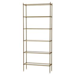 Eichholtz Aubrey Hollywood Regency Beveled Glass Brass Etagere Bookcase
