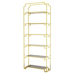 Eichholtz Berndorff Hollywood Regency Smoked Glass Gold Etagere Display Bookcase