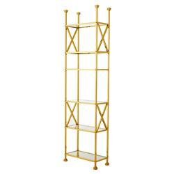 Eichholtz Delmar Hollywood Regency Gold Glass 6 Shelved Etagere Display Bookcase