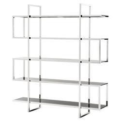 Eichholtz Soto Modern Classic Stainless Steel Black Glass Geometric Display Bookcase