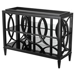 Eichholtz Forsythe Modern Classic Mirrored Glass Piano Black Cabinet