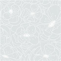 Anewall Hibiscus Modern Classic Delicate Soft Blue Floral Wallpaper