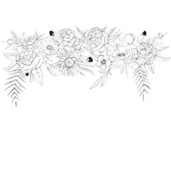 Anewall Blooming Garland Modern Classic Sketched Floral Wallpaper