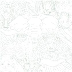 Anewall Animal Kingdom Modern Classic Teal Sketched Wildlife Wallpaper