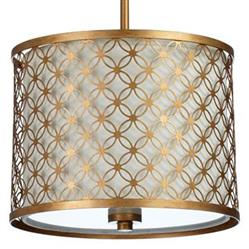 "Round Lattice Antique Brass Metal Filigree Pendant Lamp - 16""D 