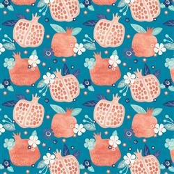 Anewall Pomegranate Modern Classic Floral Blue Wallpaper