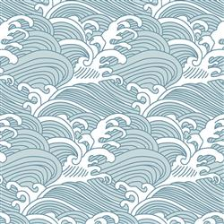 Anewall Bombora Modern Classic Vintage Hawaiian Waves Wallpaper