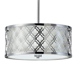 Small Round Lattice Silver Chrome Metal Filigree Pendant Lamp | CYAN-04655