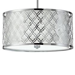 Large Round Lattice Silver Chrome Metal Filigree Pendant Lamp