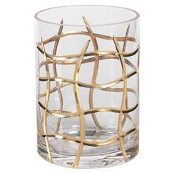 Crosby Hollywood Regency Gold Groove Glass Vase - Medium