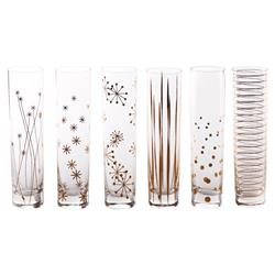 Dylan Modern Classic Gold Decal Party Champagne Flute Glasses - Set of 6