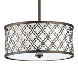Small Round Lattice Oiled Bronze Metal Filigree Pendant Lamp