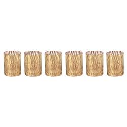 Marsalis Hollywood Regency Festive Gold Designed Assorted Double Old Fashioned Glasses - Set of 6