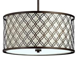 Large Round Lattice Oiled Bronze Metal Filigree Pendant Lamp | CYAN-04658