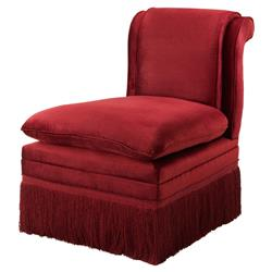 Boucheron French Country Red Fringe Armless Slipper Chair
