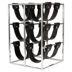 Envy Modern Classic Black Polished Stainless Steel Brown Leather Wine Rack