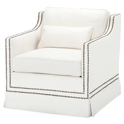 Eichholtz Frazer Modern White Herringbone Linen Nailhead Trim Accent Club Chair