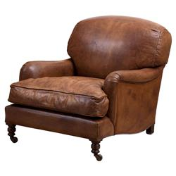 Eichholtz Highbury Modern Classic Brown Leather Upholstered Accent Club Chair