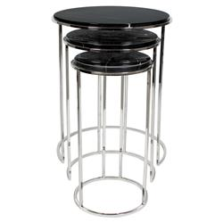 Eichholtz Millennium Modern Classic Black Marble Round Side End Table - Set of 3