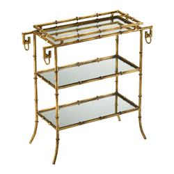 Hollywood Regency Gold Leaf Gilt Bamboo Mirror End Table | CYAN-04208