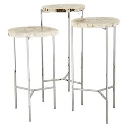 Eichholtz Newson Industrial Loft Petrified Wood Round Side End Table - Set of 3
