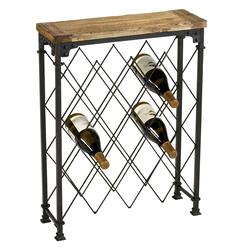 Hudson Rustic Iron Reclaimed Wood Wine Rack
