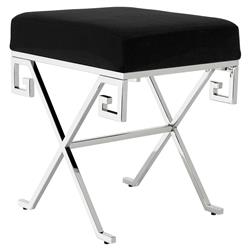 Eichholtz Paiva Modern Classic Polished Stainless Steel Panama Black Cushion Stool