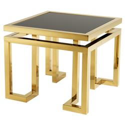 Eichholtz Palmer Hollywood Regency Gold Square Side End Table
