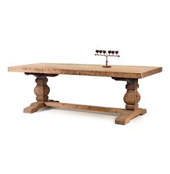 Rustic Solid Teak Wood Trestle Dining Table
