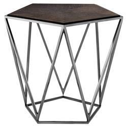 Eichholtz Pentagon Industrial Loft Charcoal Oak Side End Table