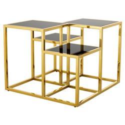 Eichholtz Smythson Hollywood Regency Gold Tiered Square Side End Table