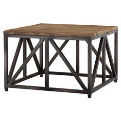 Eichholtz Thierry Industrial Loft Reclaimed Oak Square Side End Table