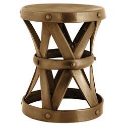 Eichholtz Veracruz Global Bazaar Hammered Antique Brass Stool - Large