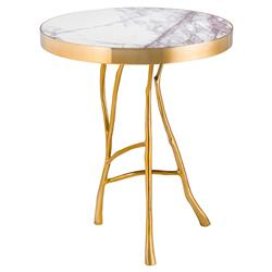 Eichholtz Veritas Hollywood Regency White Marble Top Round Side End Table