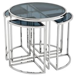 Eichholtz Vicenza Modern Classic Polished Stainless Round Nesting Side End Table - Set of 5
