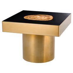 Eichholtz Villièrs Hollywood Regency Gold Petrified Wood Square Side End Table