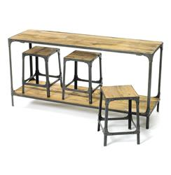 Industrial Reclaimed Wood Console with Three Stools