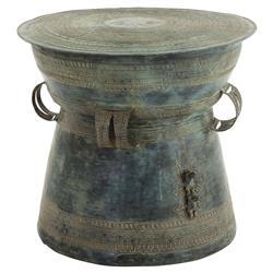 Eichholtz Thai Global Bazaar Antique Green Brass Drum Side Table