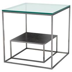 Eichholtz Durand Modern Classic Glass Metal Oak Nesting Square Side Tables