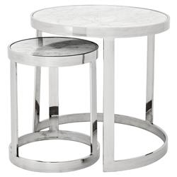Eichholtz Fletcher Modern Classic Silver White Marble Round Nesting Side Tables