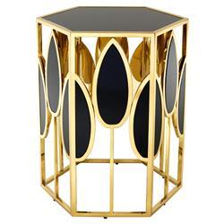 Eichholtz Florian Hollywood Regency  Gold Black Glass Side Table