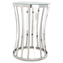 Chilton Modern Classic Polished Stainless Steel Glass Round Side Table