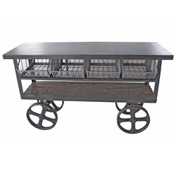 Vintage Industrial Style Reclaimed Wood Merchandise Console Table Cart | 3-C-GO-12503
