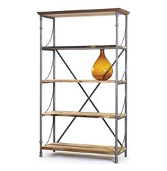 Watermill Reclaimed Wood and Steel Bookshelf