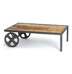 Reclaimed Wood Vintage Industrial Transfer Cart Coffee Table