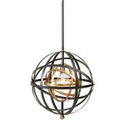 Reid Industrial Loft Antique Brass Bronze Globe Pendant