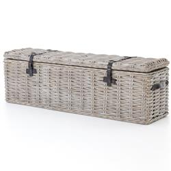 Brenna Global Bazaar Leather Accent Woven Rattan Trunk