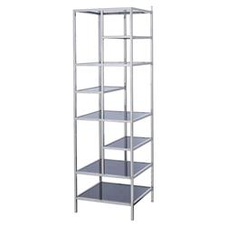 Kelly Hoppen Miro Modern Black Glass Stainless Steel Tall Shelving Etagere