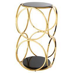 Eichholtz Alister Modern Regency Gold Black Marble Circle Side Table